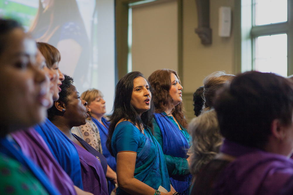 Sacred Sounds Women's Choir performing at The Whitworth as part of the MIF15 Volunteers Launch Event Photo: Ray Chan for Manchester International Festival