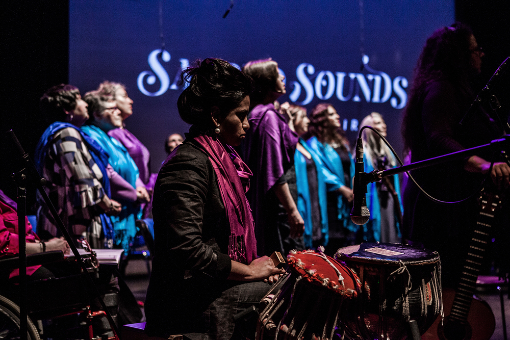 Renu Hossain accompanying the Sacred Sounds Women's Choir Photo: Michela De Rossi