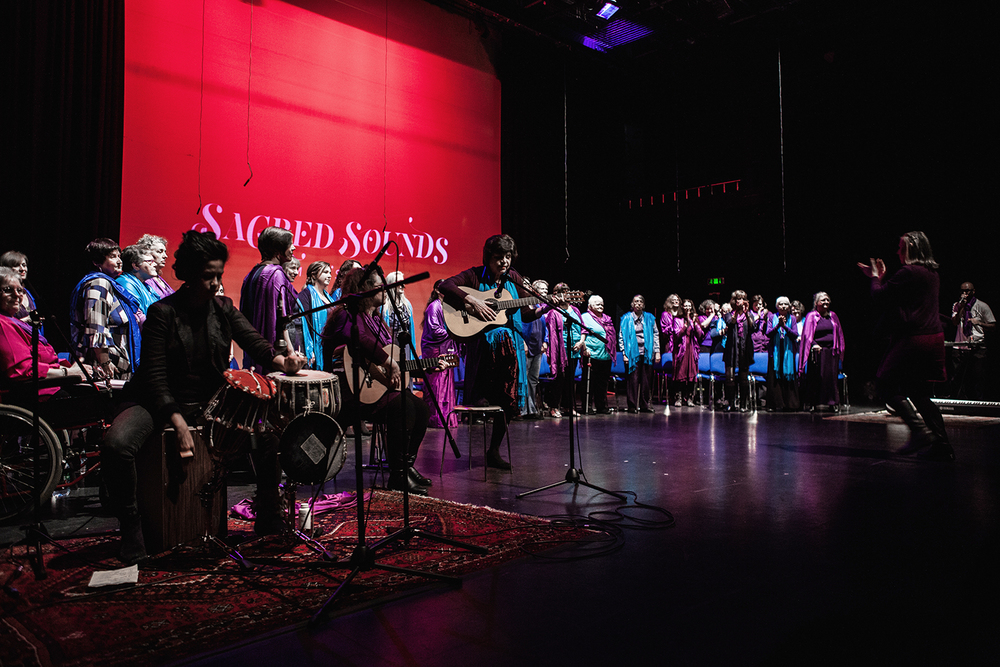 Sacred Sounds Women's Choir performing 'The Earth Resounds in Me' with Renu Hossain and Jason Singh Photo: Michela De Rossi