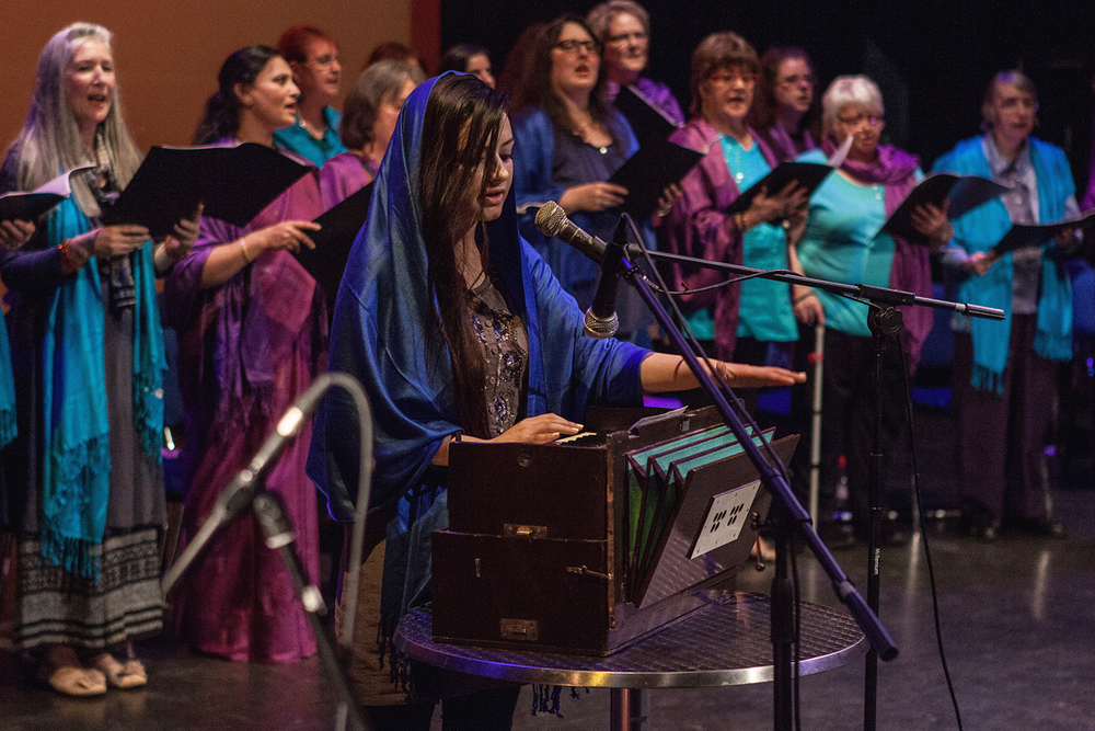 Keertan Rehal peforming 'Madho' a Sikh Shabad with the Sacred Sounds Women's Choir Photo: Michela De Rossi