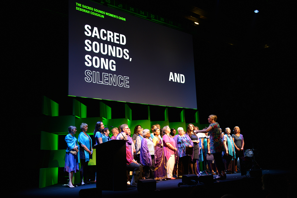 Sacred Sounds Women's Choir performance and interview as part of 'Interdependence' at Old Granada Studios for MIF15 Photo: Rob Martin for Manchester International Festival