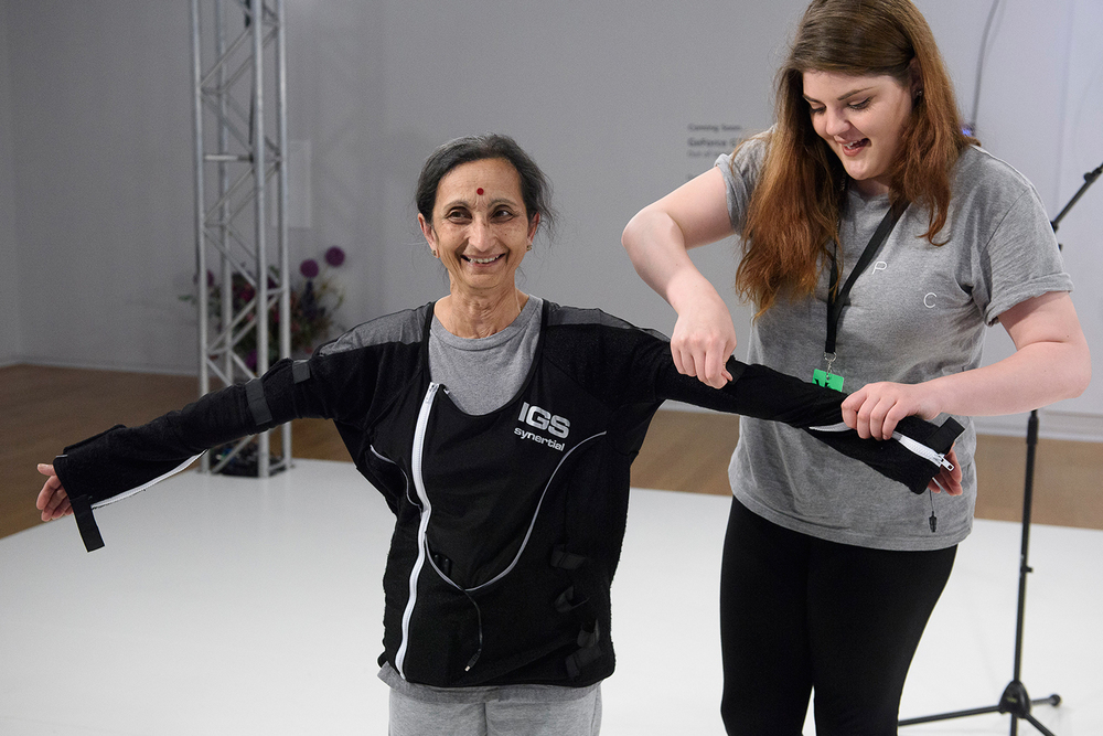 Sacred Sounds Women's Choir member Asha taking part in 'Performance Capture' at Manchester Art Gallery for MIF15 Photo: Joel Chester Fildes for Manchester International Festival