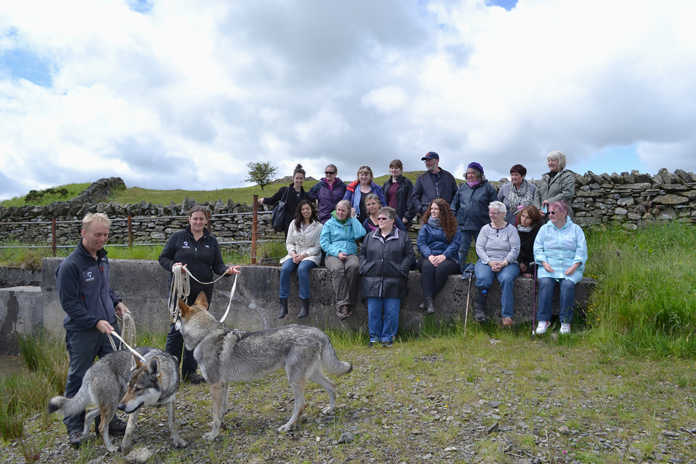 Sacred Sounds Womens Choir members observing wolves at Predator Experience in Cumbria, as part of their research for 'Neck of the Woods' Photo: Ange Cobham for Manchester International Festival
