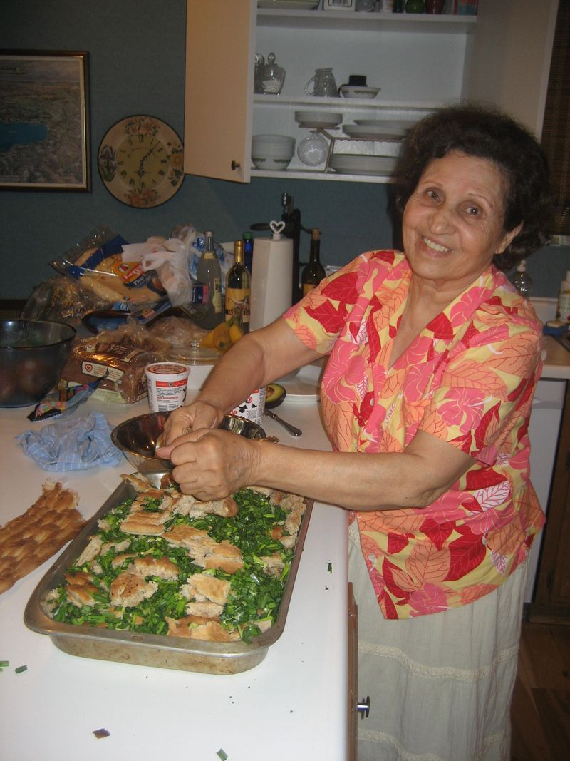 This is Jeja today cooking a qurooti, a savory bread pudding, in an American kitchen with all the modern conveniences