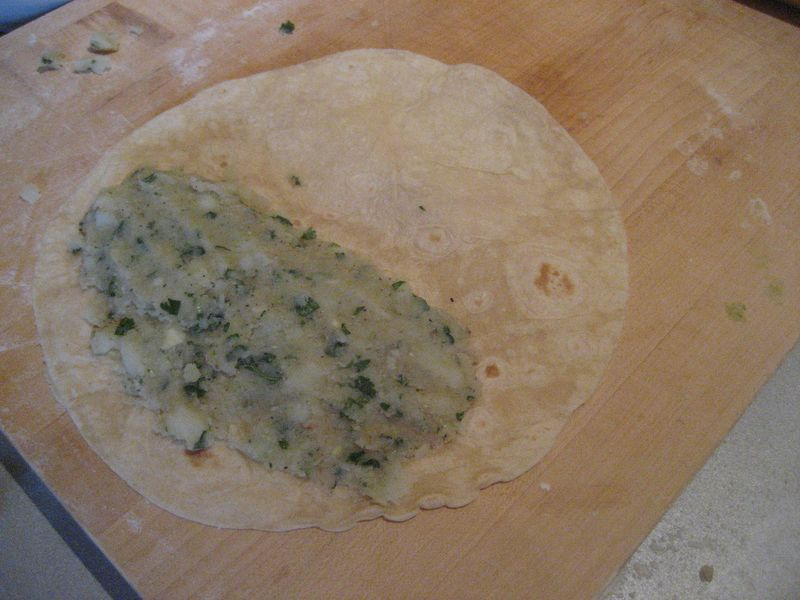 Using a tortilla you leave a wider edge for the paste which will hold the tortilla closed.