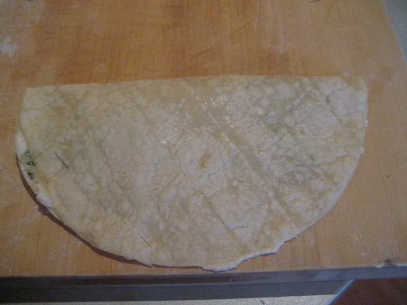 Tortilla Bolani ready for cooking