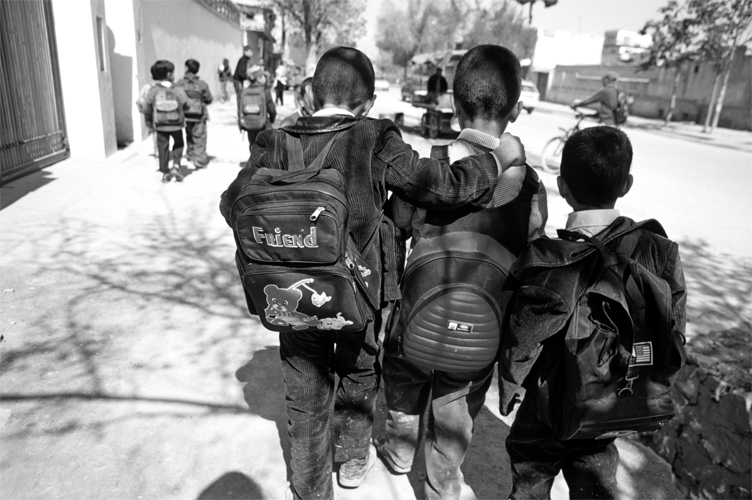 Boys on the way to school