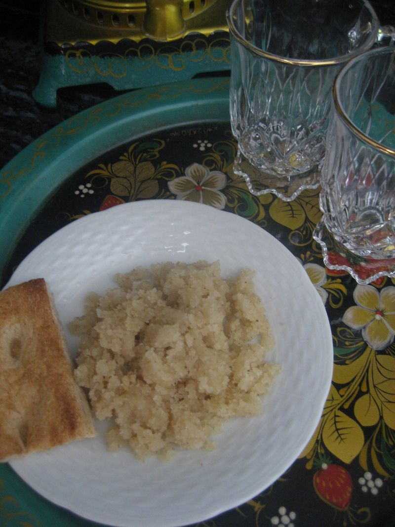 A plate of Afghan sojee halwa