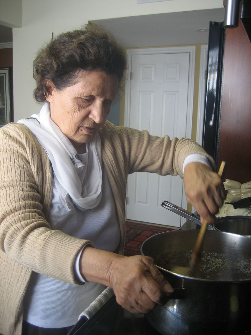 My mom, Jeja cooking halwa.