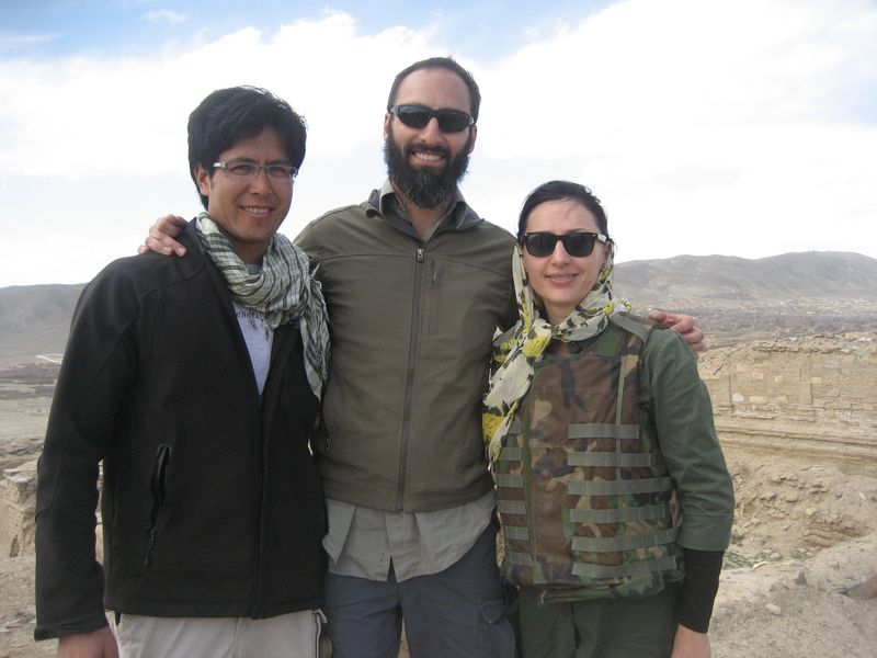 Afghan friend, Stetson Sanders and Humaira in an archeological site in Ghazni, Afghanistan