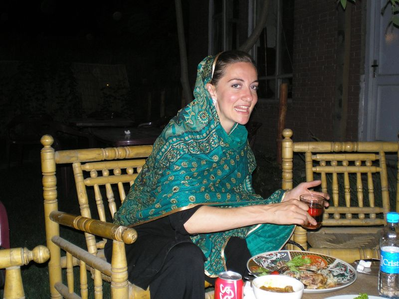 Eva at a restaurant in Kabul