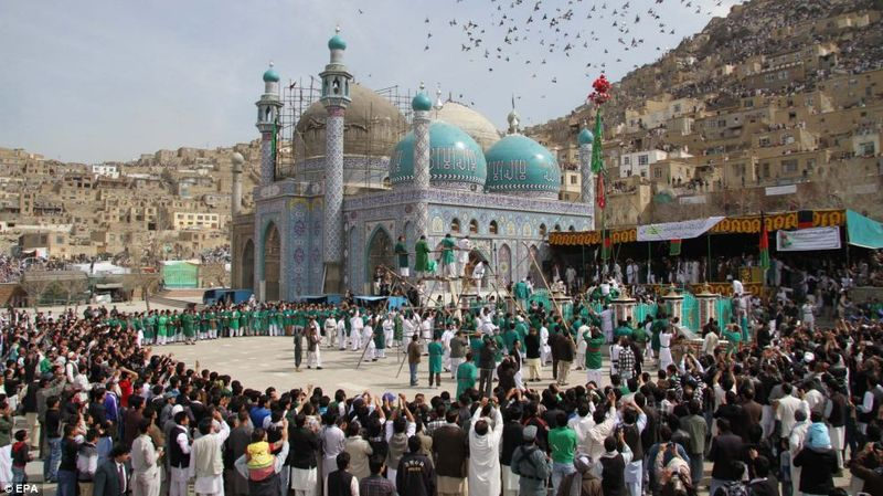 People celebrate Nowroz by going to mosque or a shrine, this is the Sakhi Shrine in Kabu
