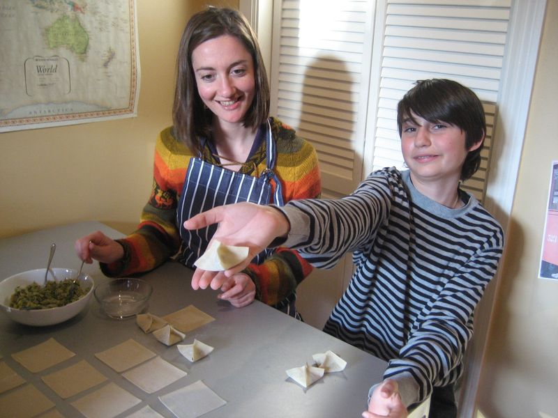 Stuffing dumplings is fun with kids