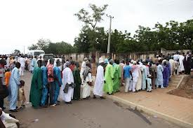 Lining up for Eid prayer