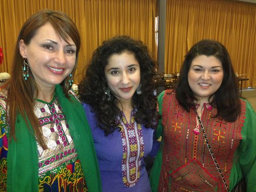 Humaira and friends in Afghan outfits