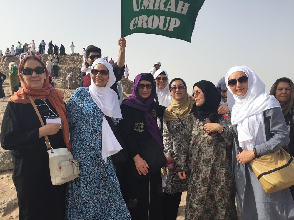 My co-pilgrims and me at the battle of Uhud sight (I'm on the furthers right with white headscarf)