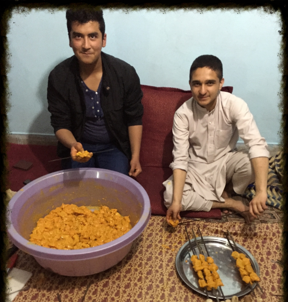 Eighteen year old Elias (my cousin's son) and his cousin marinated 20 pounds of chicken for a family BBQ