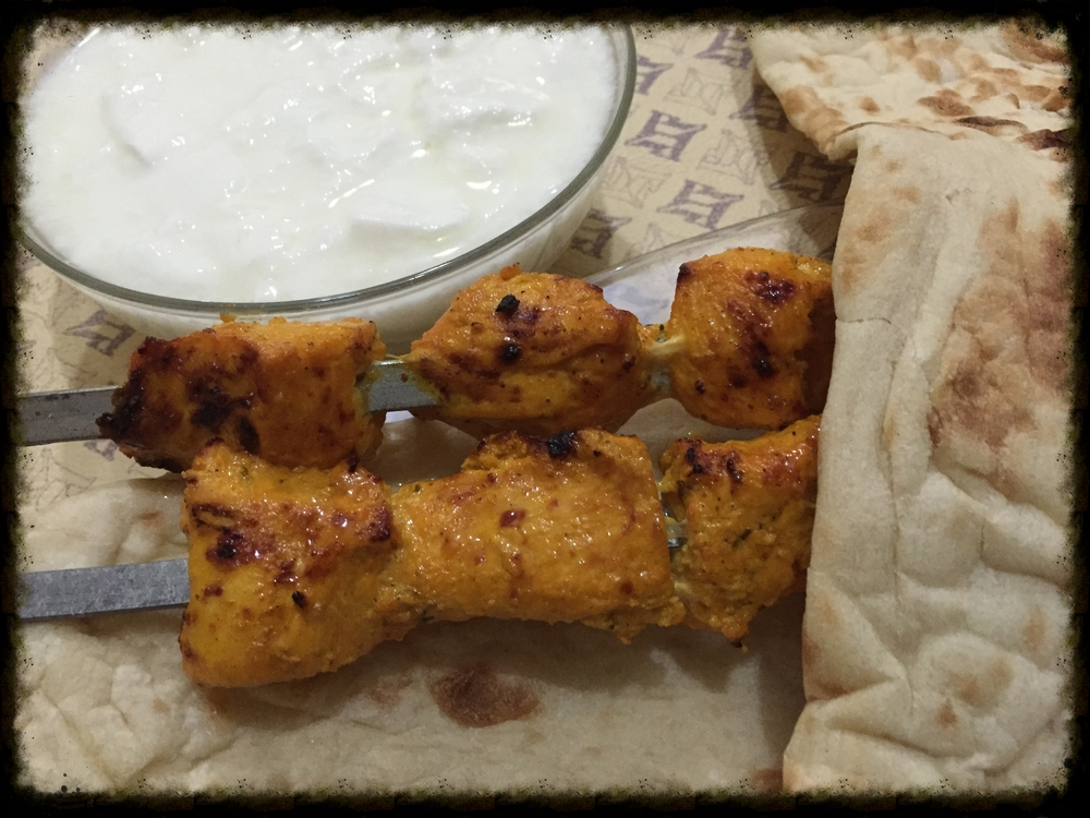 Elisa's kebab with with fresh flat bread and home made yogurt