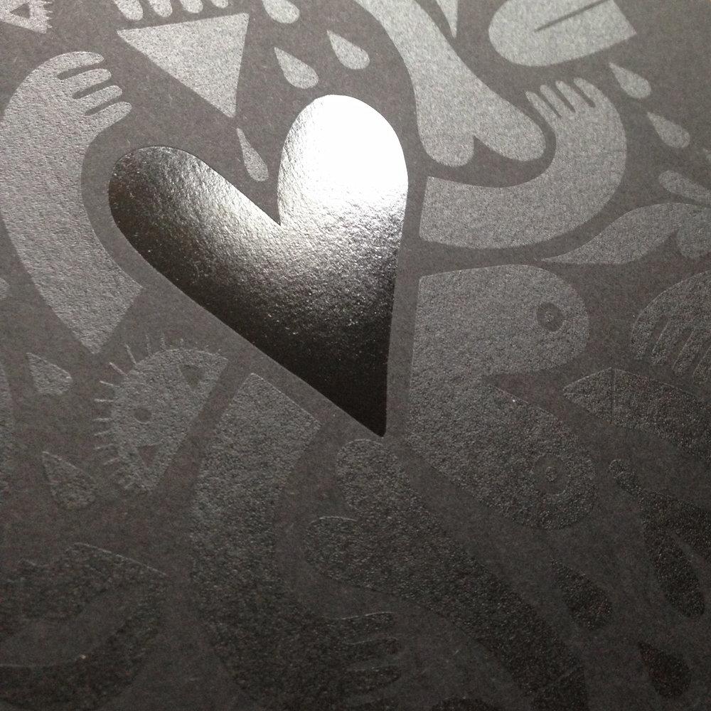 'Black Heart' screen print with hot foil detail | Dominika Lipniewska