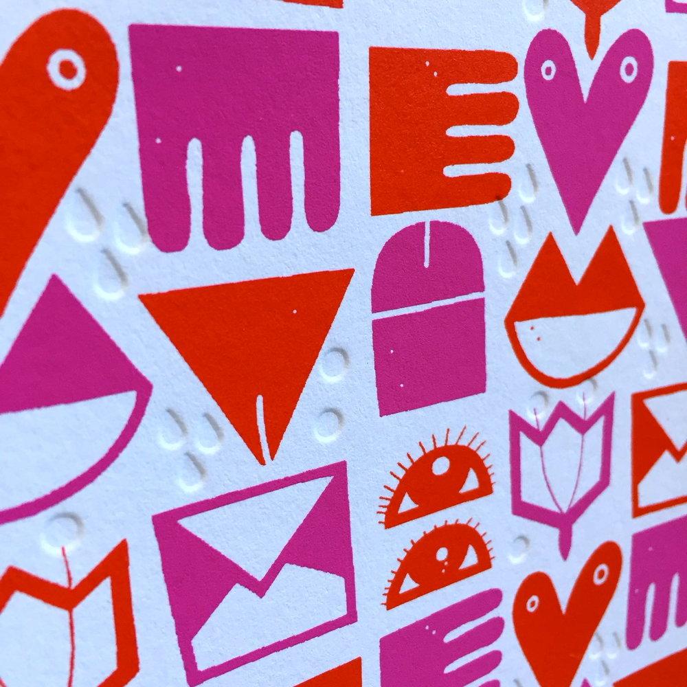 LOVE - 2 colours screen printed card with debossed detail   Dominika Lipniewska