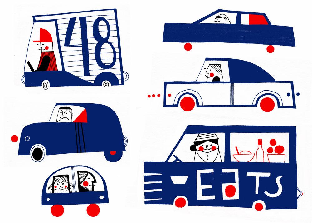 Cars illustration by Dominika Lipniewska