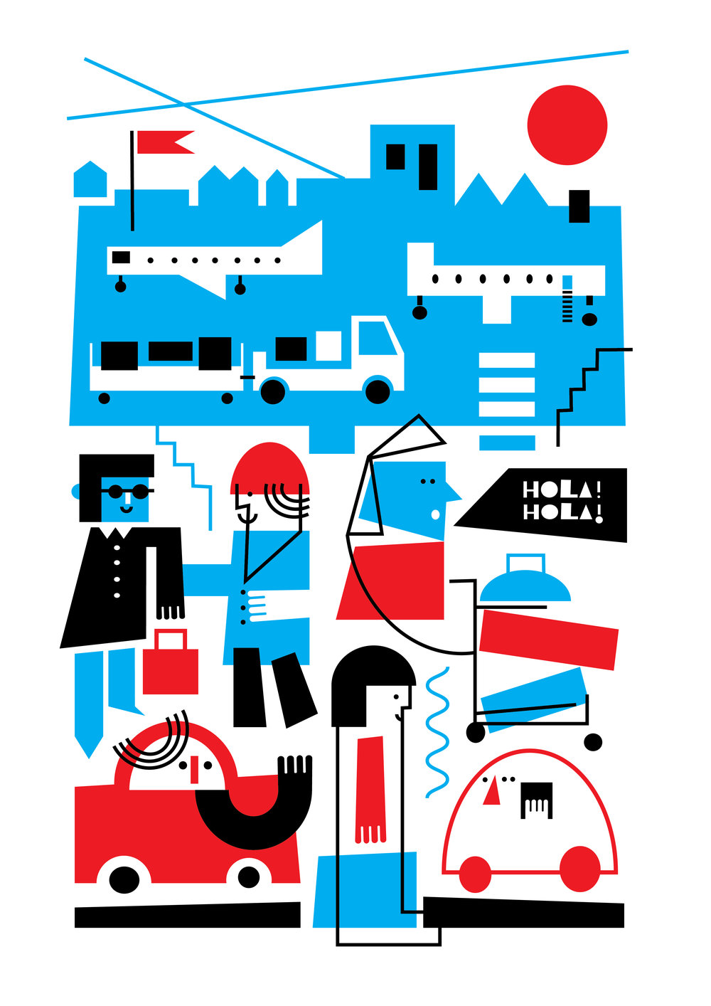 'Arrivals' screen printed poster by Dominika Lipniewska