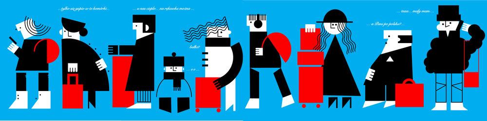 'Queue' illustration by Dominika Lipniewska