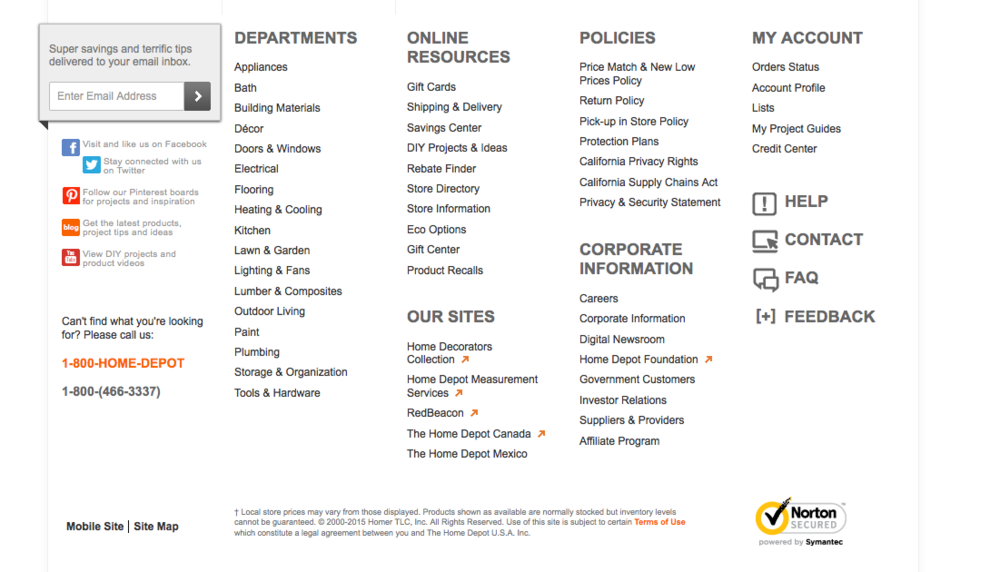 The Home Depot uses a site-wide footer with links to all their major departments.
