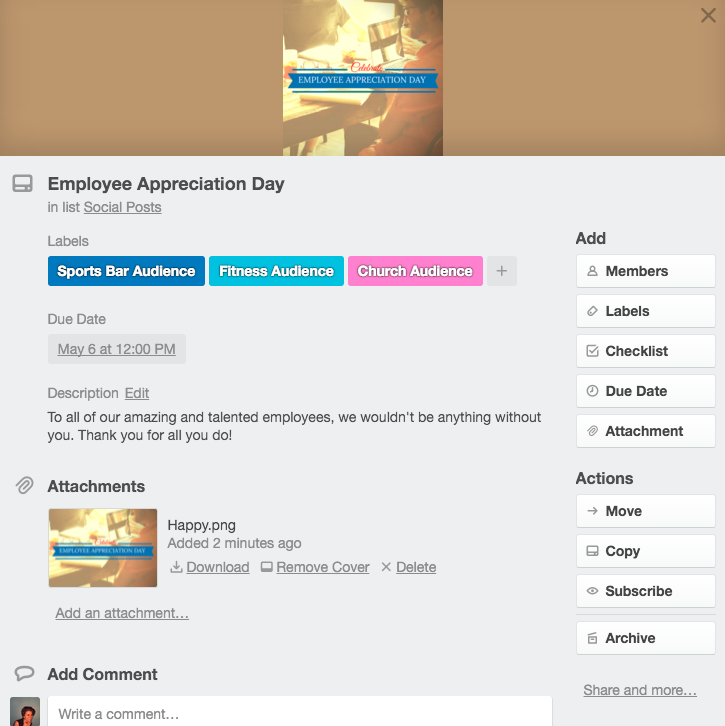 Example of a Trello card with an image and message, ready to be copy/pasted on the scheduled date.