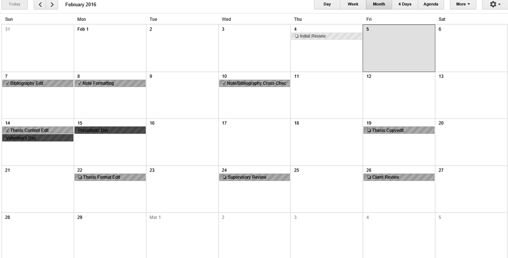 Above: The work calendar for the same client's thesis project, showing the dates on which the various stages of the project are expected to be complete.