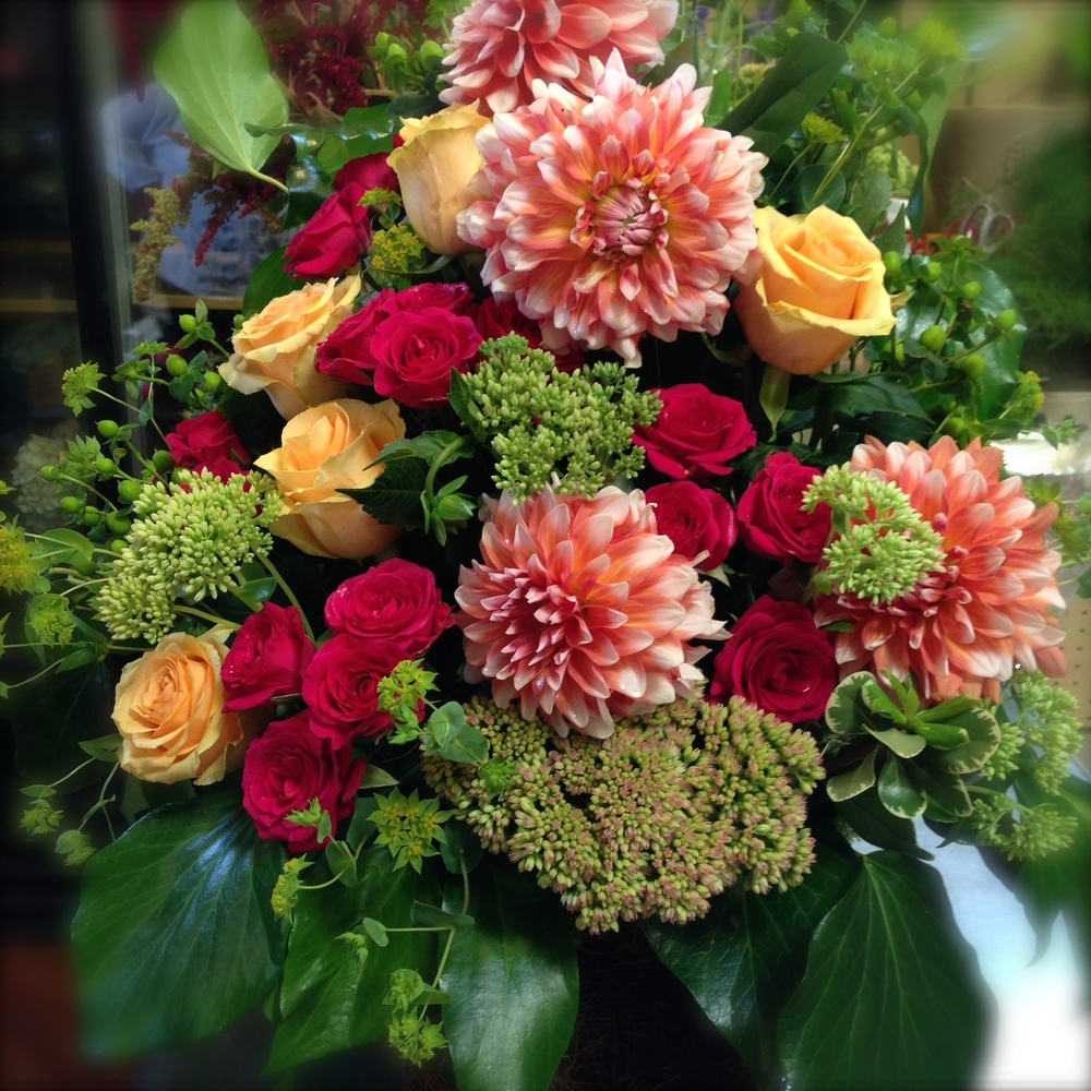 Rich Summer Dahlias, Roses & Sedum