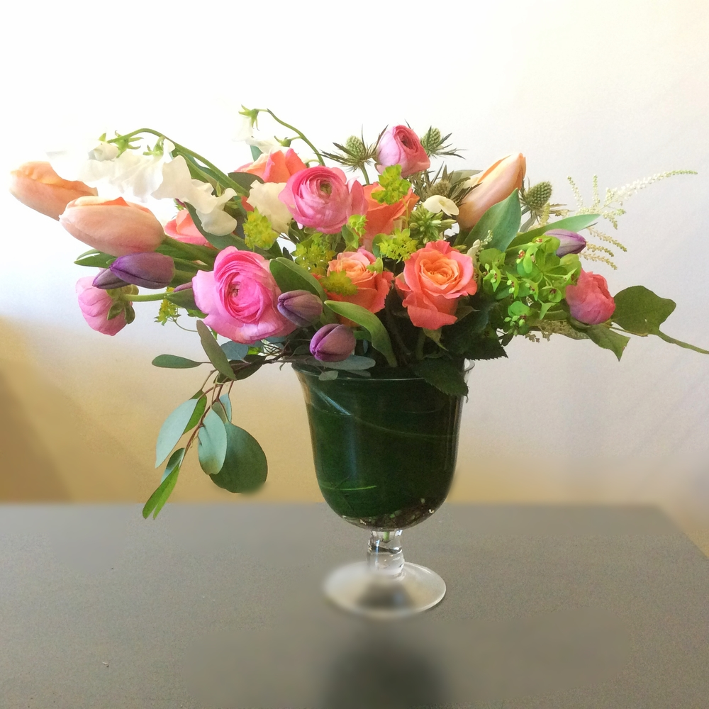 French Tulips with peaches, pinks and coral