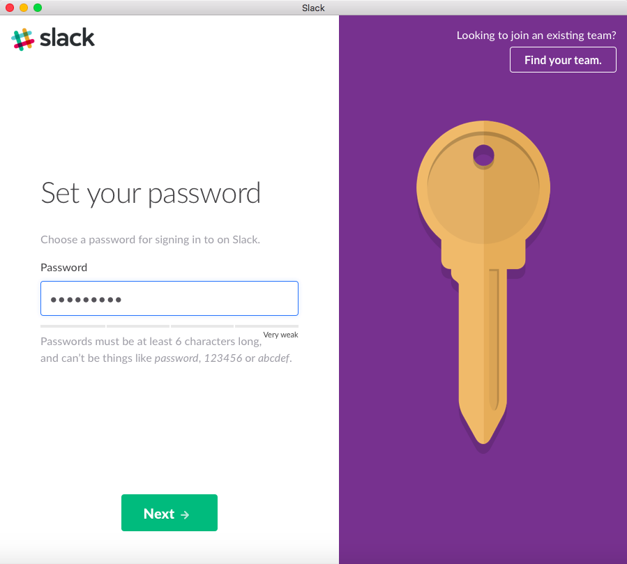 Set a Slack password