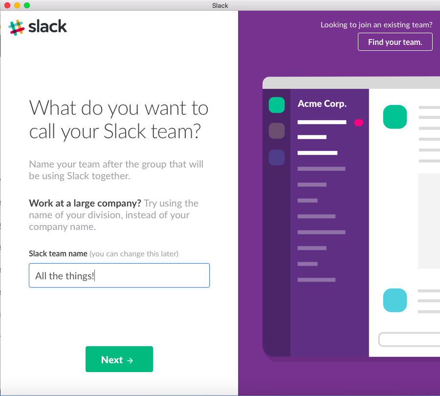 Create a team name and web domain name on Slack