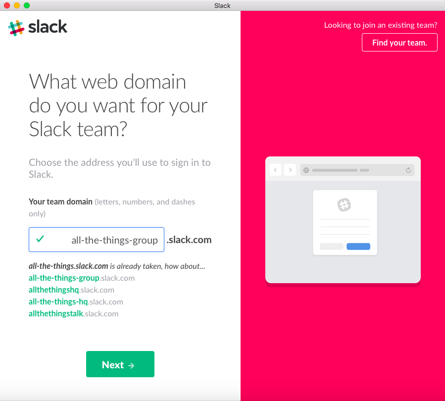 Create a Slack web domain name