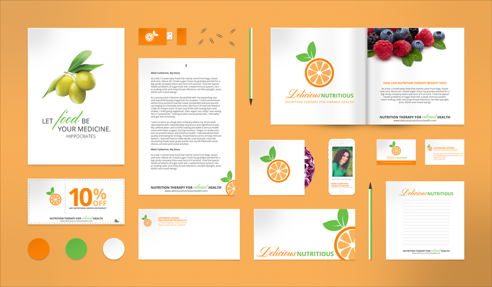 Custom print collateral graphic design for nutritionist