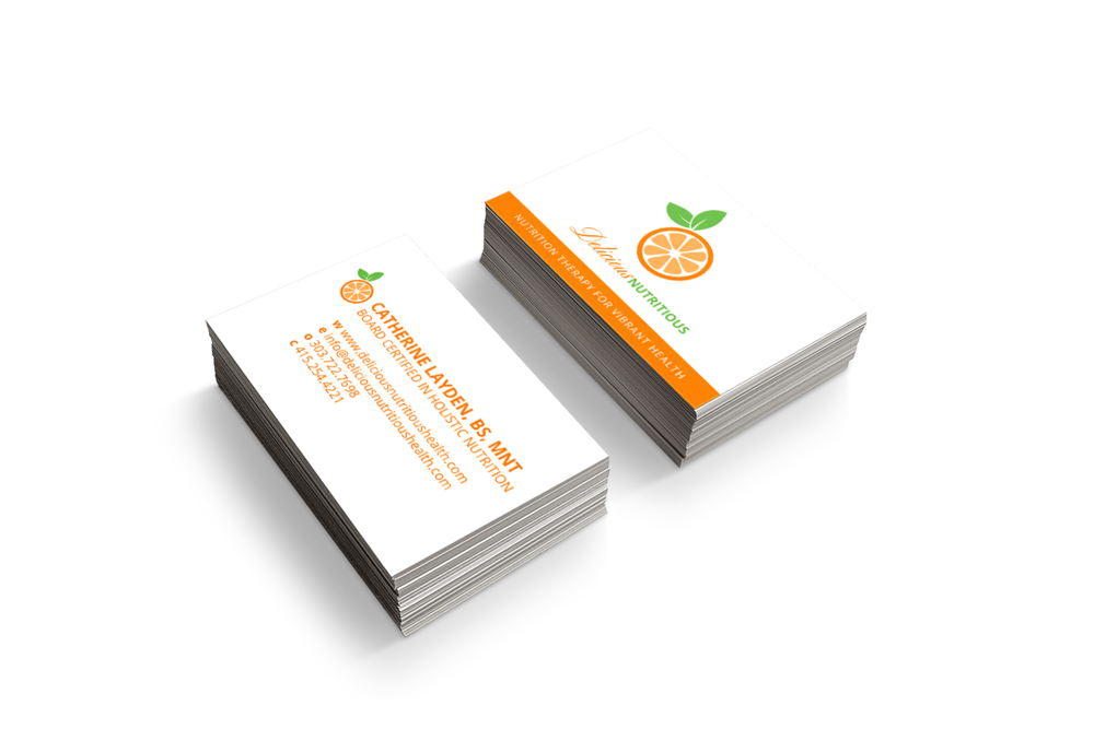 Business card design for holistic nutrition therapist