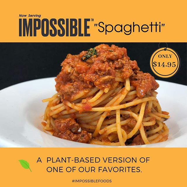 We are excited to introduce you to our #impossiblespaghetti a new menu item that is plant-based and delicious 🤤  IMPOSSIBLE™️ is famous for their #impossibleburger creation  #impossible #spaghetti #italianfood #hollywoodeats