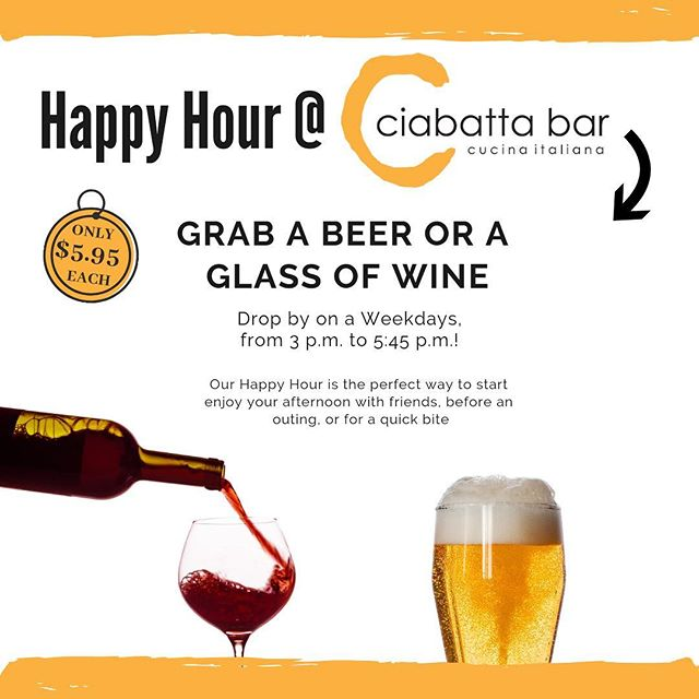 Kick off the weekend with our new #happyhour specials!! $5.95 for a beer or glass of wine and $5.45 on all appetizers 🍺🍷🥑 #beer #wine #food #hollywoodhappyhour #italianhappyhour #specials