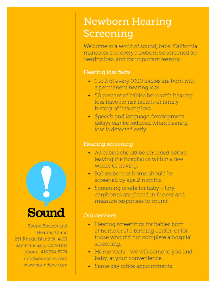 The mother of pediatric audiology sound speech and hearing clinic sound speech and hearing clinic offers newborn hearing screenings in the office and at home check out our information sheet below altavistaventures Image collections
