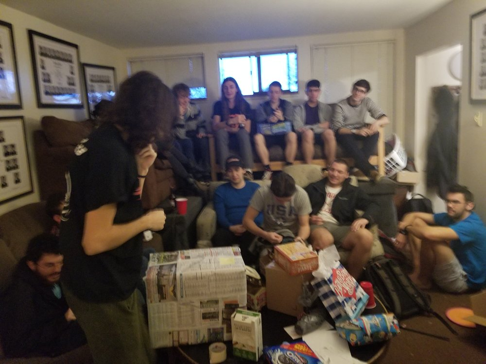 Our annual end-of-semester Yankee swap.