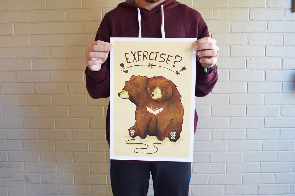 Exercise Bear Art Print