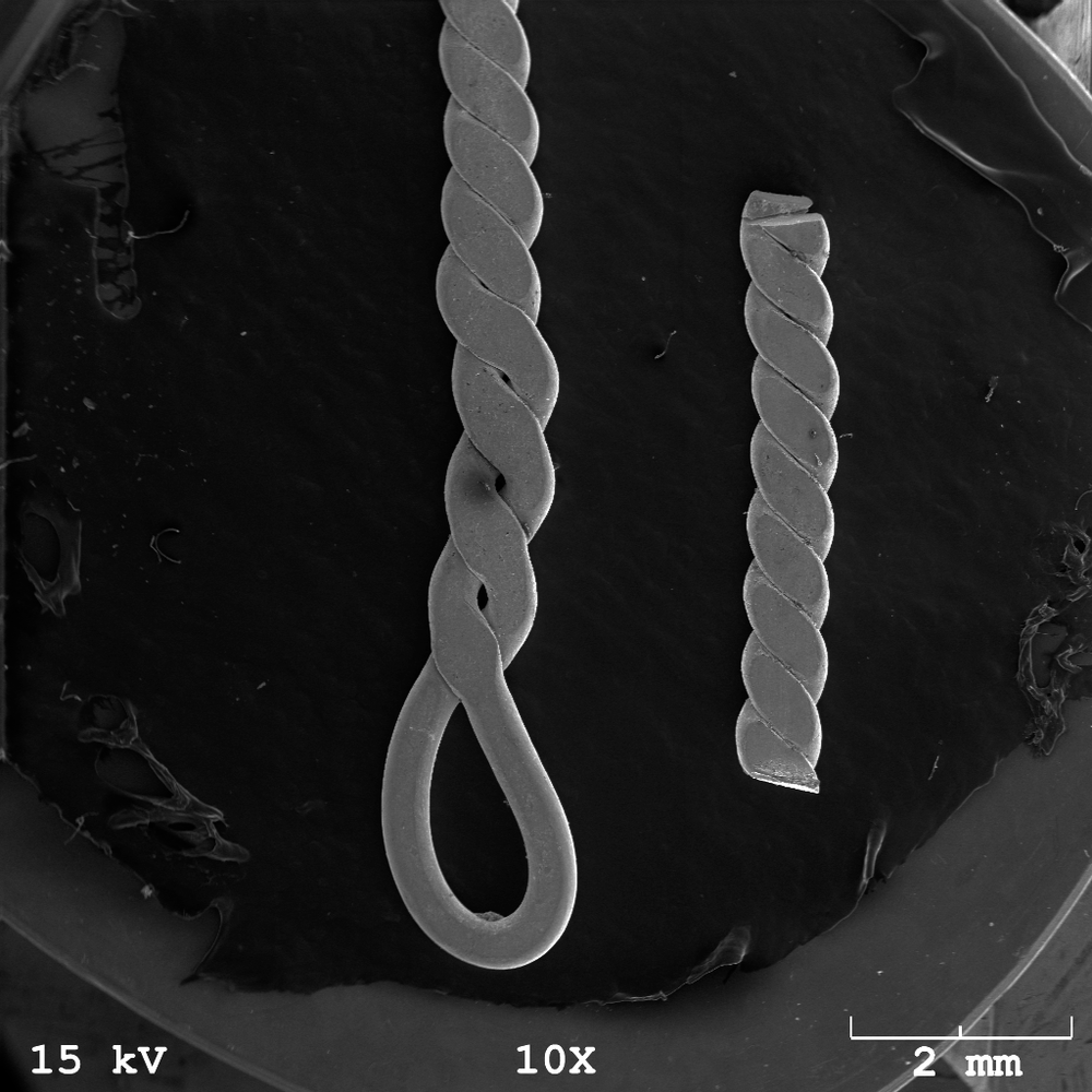 Micrograph of Twisted Silver Wire 10x