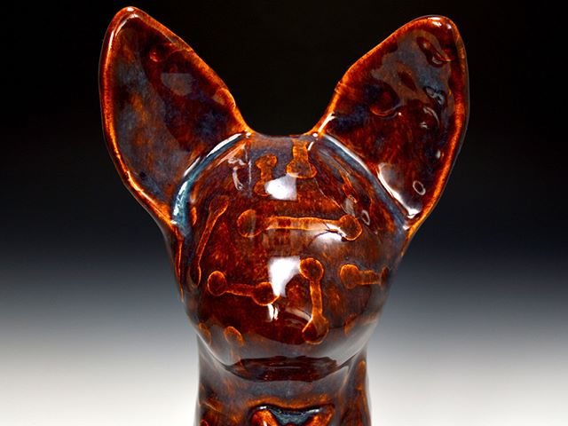 """DigiCat"" by Lindsay Zike #Ceramic, ""What Makes Me"" @TucsonClayCoop.  #Ceramics #Tucson #Art #Artist #CeramicArt #pottery #potter #claysculpture #handmandpottery #handmadeceramics #contemporaryceramics #claywork #instapottery #handmade #slipcast #slipcasting #ArtsofInstagram #Instaart"