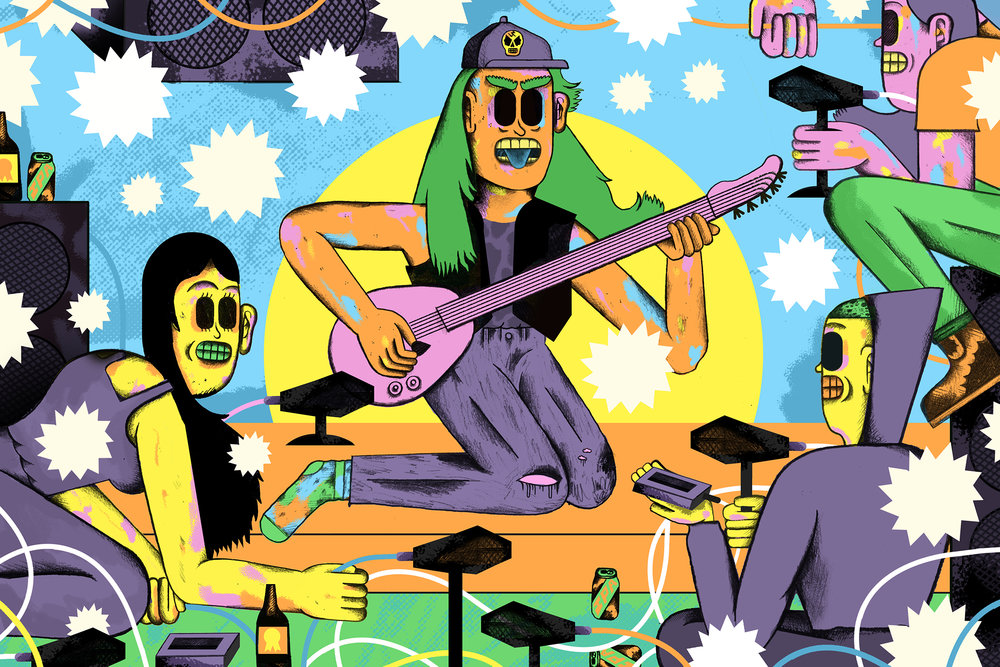 Illustration above and two below for  WIRED  for an article about how unofficial concert recordings have flowered in the 21st century. Read the article on WIRED  here .  ART DIRECTED  by Beth Holzer
