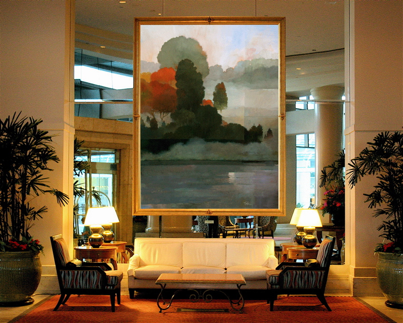 Hotel lobby / Giclee canvas on mirrored wall