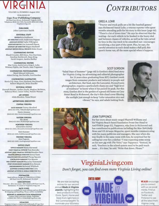 Masthead of Virginia Living Magazine