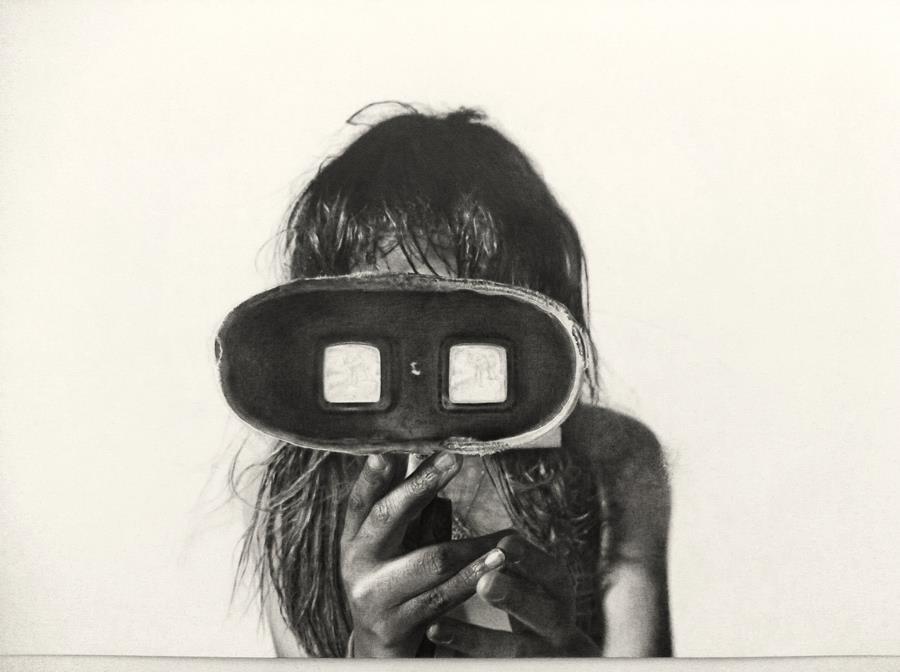 """Drawing by Jocelyne Gilead     """"Stereoscope"""" Graphite pencil on paper, 18in x 24in, 2012   Website:  www.jocelynegilead.com    Facebook Page:  https://www.facebook.com/jocelynegileadart    Instagram:  http://instagram.com/jocelynegileadart"""