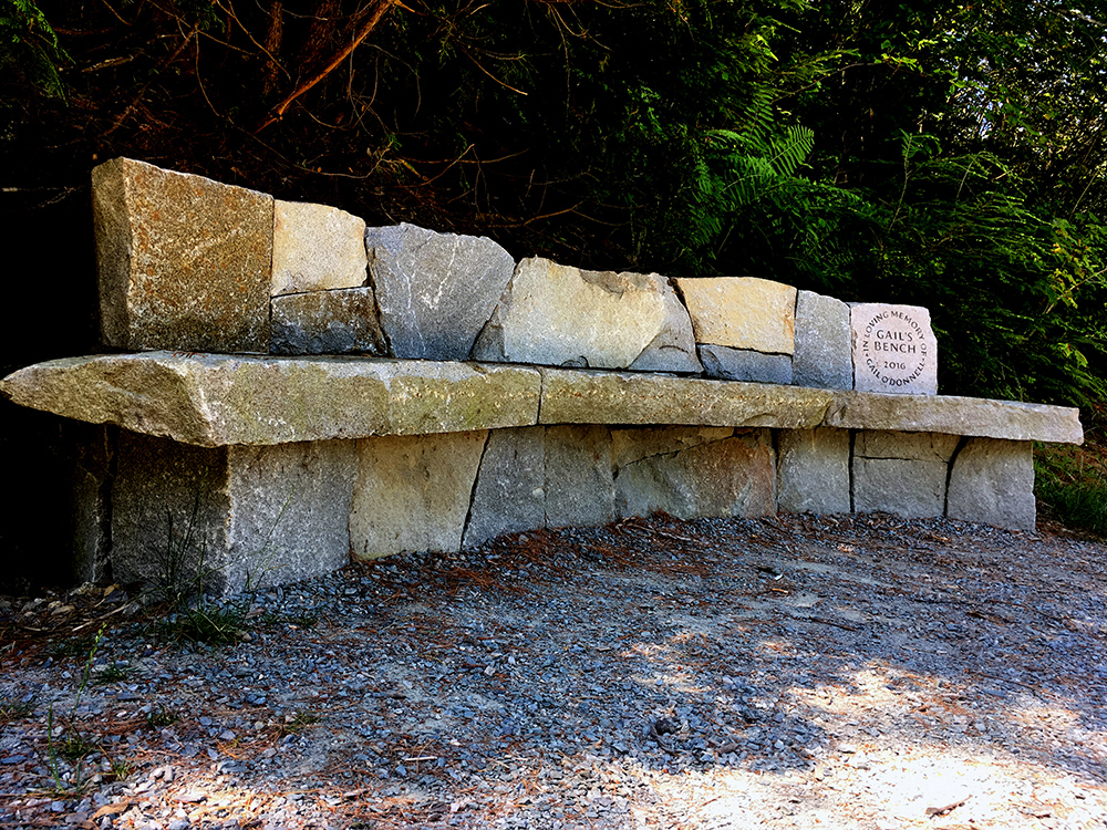 Gail O'Donnell Memorial Bench at Belfast Rail Trail - Local granite, landscape, rebar, stone engraving10' x 4' x 3'$10000.002017Public Art @ Belfast, Maine / Rail TrailPrivate Client & City of BelfastBuilt with local granite, designed for new rail trail in Belfast, Maine. Collaboration with local masons and stone carvers. Private/Public.
