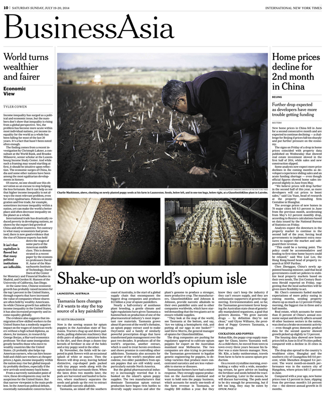International New York Times, Sunday Business Asia